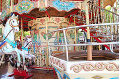 Close-up of carousel horses for children amusement in France Royalty Free Stock Photos