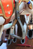 Close-up of carousel horses for children amusement in France Stock Photos