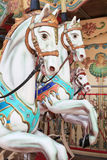 Close-up of carousel horses for children amusement in France Stock Photo