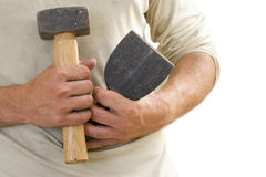 Close up of carpenter holding mallet and chisel Stock Photos