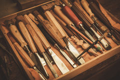 Close-up of the carpenter tools in restorer workshop Stock Photo