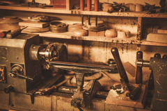 Close-up of the carpenter tools in restorer workshop Royalty Free Stock Photo