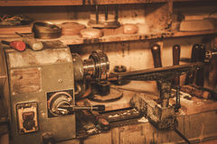 Close-up of the carpenter tools in restorer workshop Royalty Free Stock Photos