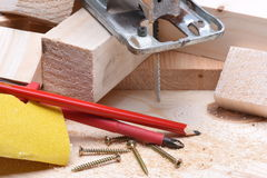 Close up of carpentry tools and electric jigsaw Stock Photos