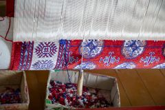 Close up of carpet loom with tool stock images