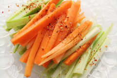 Close up of a carrot and celery salad. Over white background Royalty Free Stock Photography