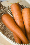 Close up carrots. Close up fresh carrots in basket Stock Photography