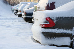Close up of cars in snow Royalty Free Stock Image