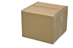 Close up of carton box on white background. With clipping path Stock Image