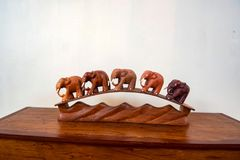 Wooden interior decoration of elephants stock images