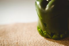 Close up of carved green bell pepper Royalty Free Stock Photography