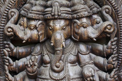 A close up of a carved wodden Ganesha with many details Royalty Free Stock Image