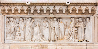 Close up at carving art underneath King Saint Stephen statue Royalty Free Stock Photo