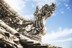 Close-up of carvings on the roof of the pagoda, day, Shanxi Province, China Stock Photos