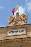Close up of carvings on Victoria Gate, Valletta, Malta. English Royal crest stone carving seen above Victoria Gate, at the entrance of Valletta from the Grand Royalty Free Stock Photo