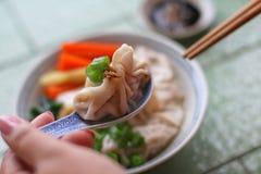 Close up caseiro da sopa da bolinha de massa Fotografia de Stock