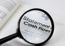 Close up with a cash flows book Stock Image