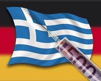 Close up of cash injection on greek flag against german flag Stock Photo