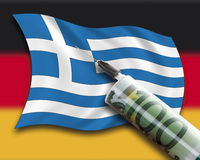 Close up of cash injection on greek flag against german flag Royalty Free Stock Photo