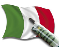 Close up of cash injection on italian flag Royalty Free Stock Photos