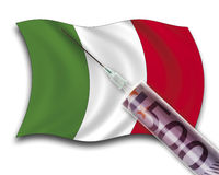 Close up of cash injection on italian flag Royalty Free Stock Photo