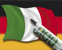 Close up of cash injection on italian flag against german flag Stock Photography
