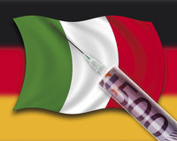Close up of cash injection on italian flag against german flag Royalty Free Stock Images