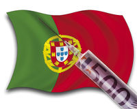 Close up of cash injection on portuguese flag Royalty Free Stock Photography
