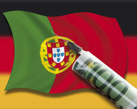 Close up of cash injection on portuguese flag against german flag Royalty Free Stock Image