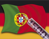 Close up of cash injection on portuguese flag against german flag Stock Images
