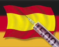 Close up of cash injection on spanish flag against german flag Stock Images