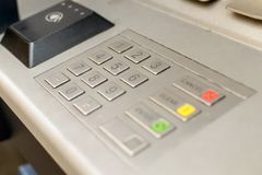 Close up of Cash Machine Keypad B. Keyboard of British ATM Machine Shallow Depth of Field royalty free stock images
