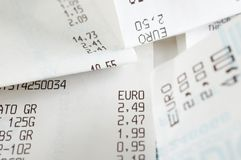 Close-up of cash register receipts Royalty Free Stock Photo