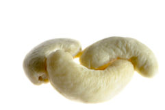 Close-up of cashew. On white stock images