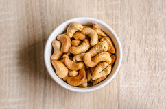 Close up cashew nuts on wooden background Stock Image