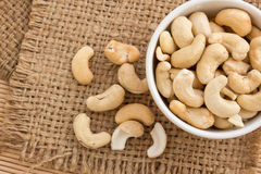 Close up cashews in the bowl Royalty Free Stock Photos