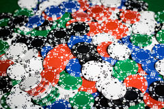 Close up of casino chips background Stock Photos