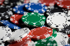 Close up of casino chips background Royalty Free Stock Image