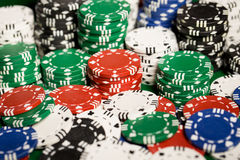 Close up of casino chips background Stock Photography