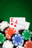 Close up of casino chips and playing cards Stock Photography