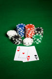 Close up of casino chips and playing cards Royalty Free Stock Photos