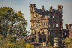 Close-up of Castle in Ruins. Under a cloudy sky, the tan and red brick remains of Bannerman Castle, once a home, then an armory, now a state landmark, the beauty royalty free stock image