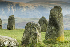 Close up of Castlerigg Neolithic Stone Circle. Situated in a valley beneath the mountain Helvellyn in the Lake District, Cumbria, England Stock Images