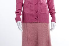 Close up casual sweater and skirt. Female mannequin dressed in pink cardigan with pockets close up. Pink textured skirt Stock Photos
