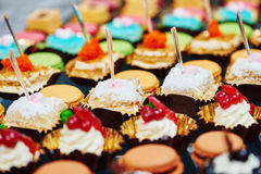 Close-up catering sweets table set Stock Image