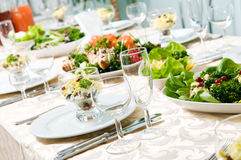 Close-up catering table set Stock Photography
