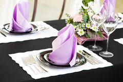 Close-up catering table set Stock Photos