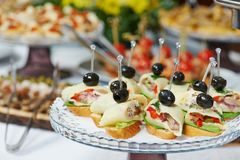 Close-up catering table set Royalty Free Stock Image
