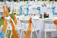 Close-up catering table set Stock Photo
