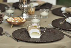 Close-up catering table set Royalty Free Stock Photos